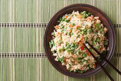 Japanese fried rice with egg and peas top view horizontal Stock Photography