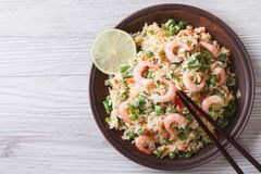 Japanese fried rice with seafood, eggs and vegetables top view Royalty Free Stock Photography