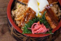 Japanese fusion dish with spicy rice with tamari sauce, roasted eel, egg and red turnip. In a decorated bowl, dark wood table background, details stock photos