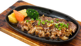 Japanese fusion food. S hot plate stock photo