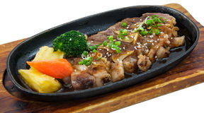 Japanese fusion food. S hot plate stock photography