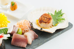 Japanese fusion food. Japanese modern cuisine in chef's table course royalty free stock image