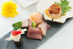 Japanese fusion food. Japanese modern cuisine in chef's table course stock photography