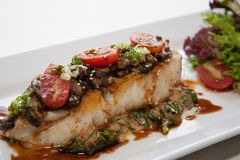 Japanese fusion food. Original Japanese fusion food fish-steak stock photo