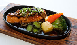 Japanese fusion food. Original Japanese fusion food salmon steak Stock Photography