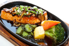 Japanese fusion food. Original Japanese fusion food salmon steak stock image