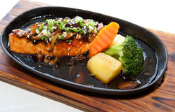Japanese fusion food. Original Japanese fusion food salmon steak Stock Photo