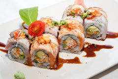 Japanese fusion food. Original Japanese fusion food sushi royalty free stock photo