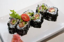 Japanese fusion food. Original Japanese fusion food sushi stock photos