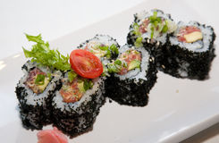 Japanese fusion food. Original Japanese fusion food sushi royalty free stock image