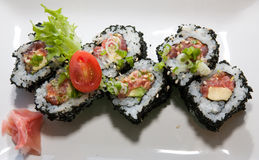Japanese fusion food. Original Japanese fusion food sushi royalty free stock images