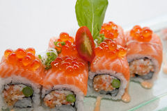 Japanese fusion food. Original Japanese fusion food sushi slamon royalty free stock photo