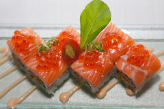 Japanese fusion food. Original Japanese fusion food sushi slamon stock photos