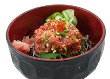Japanese fusion food. Japanese fusion spicy tuna salad Stock Photography