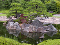 Japanese garden. A Japanese garden with rocks,pond and pines from Nijo Castle,Kyoto,Japan Stock Photo