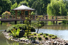 Japanese garden. Beautiful small  japanese garden, poland, wroclaw Stock Images