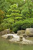 Japanese garden. A tranquil scene with rocks, a rock lantern, water and trees in the japanese garden in Augsburg, Germany stock photos