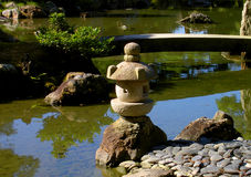 Japanese garden. An aspect from the Katsura Imperial villa garden,with a very characteristic stone lantern  a footbridge and a pond Royalty Free Stock Image