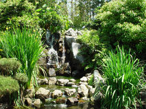 JAPANESE GARDEN. THIS IS AN IMAGE OF A WATERFALL IN A JAPANESE GARDEN IN SOUTHERN CALIFORNIA Stock Images