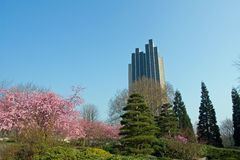 Japanese garden. In Hamburg with hotel tower in the background royalty free stock photography
