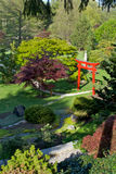 Japanese Garden. The Schedel Gardens in Elmore, Ohio are modeled after the Imperial Gardens in Japan. This image includes the red gate, as well as the footpaths Stock Photo