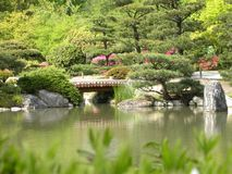 Japanese Garden. A view across a small pond that makes up part of a beautiful Japanese garden in springtime Royalty Free Stock Photo