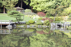 Japanese garden. Nice reflection, colorful, early autumn Royalty Free Stock Photos
