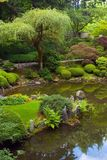 Japanese Garden. Pond at Japanese Garden in Portland Oregon Stock Photo