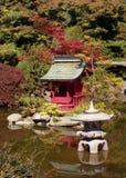 Japanese Garden. With koi pond and stone lantern Stock Photo