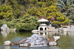 Japanese garden. Landscape with pond and fountain Stock Image