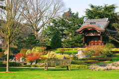 Japanese garden. With a pagoda at Kew Gardens in London Stock Images