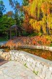 Japanese garden in Arboretum, Sochi, Russia. Japanese garden with arbor and pond in Arboretum in sunny autumn day, Sochi, Russia Royalty Free Stock Photo