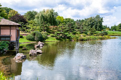 Japanese Garden area of Chicago Botanic Garden Royalty Free Stock Photo