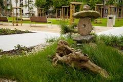 Japanese garden art. Piece of japanese art in european housing estate stock images