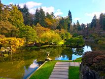 Japanese garden in autumn stock image