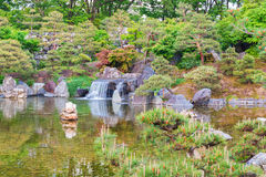 Japanese garden beautiful in nature with little waterfall. Royalty Free Stock Photo