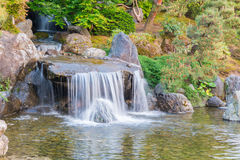 Japanese garden beautiful in nature with little waterfall. Royalty Free Stock Images
