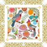Japanese garden. Birds and flowers. Stock Image