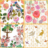 Japanese garden. Birds and flowers. Stock Images