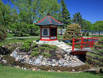 Japanese garden in Bloomington with bridge Stock Photos