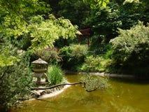 Japanese Garden in Botanical Garden, Cluj Napoca. Beautiful Japanese Garden in a hot summer day - Botanical Garden, Cluj Napoca, Romania. The chinese bridge over Stock Photos