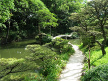 Japanese Garden with a bridge Stock Photos