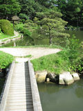 Japanese garden and with bridge Stock Image