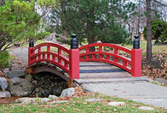 Japanese Garden Bridge. A bridge in a Japanese garden in Michigan stock image
