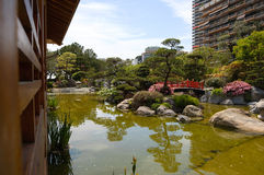 Japanese garden and a bridge. With a pond and rocks Royalty Free Stock Photo