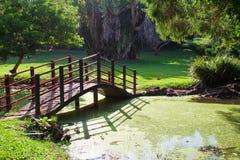 Japanese Garden bridge. A dark red bridge in japanese garden Stock Photo