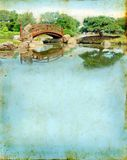 Japanese Garden Bridge on a Grunge Background. With plenty of copy-space royalty free stock photo