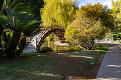 Japanese Garden Bridge. A Japanese garden bridge arcs over a pond in a hillside garden at the Huntington Library gardens in Pasadena, California stock photo