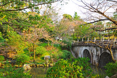 Japanese garden with bridge Stock Images