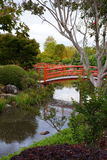 Japanese garden with bridges and river mirrors Royalty Free Stock Images